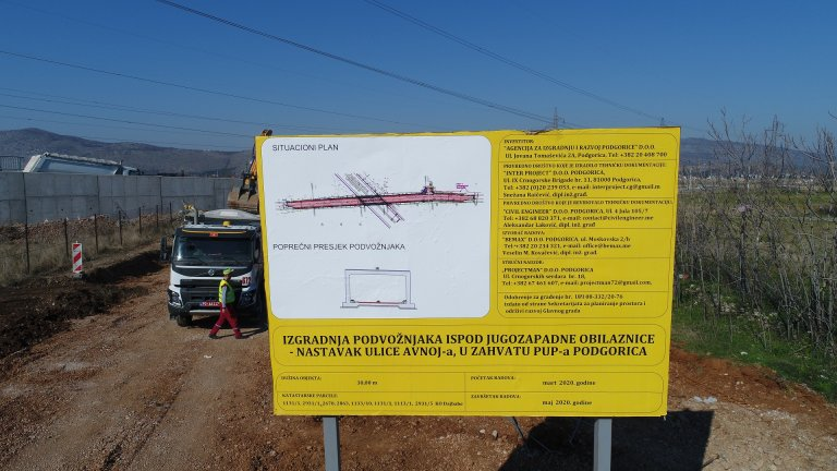 "Works on the construction of the underpass under the road ""Jugozapadne obilaznice"" – continuation of AVNOJ street"